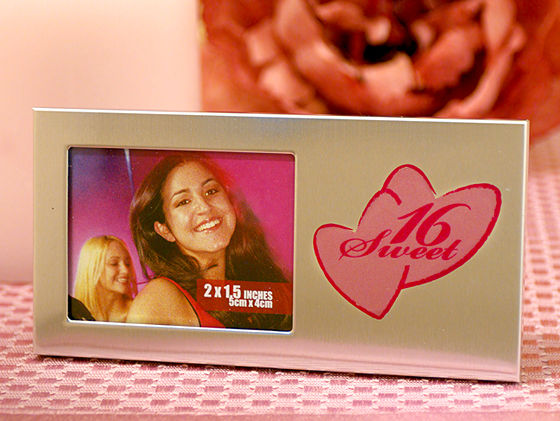 Sweet 16 Silver Metal Photo Frame w/ Double Hearts