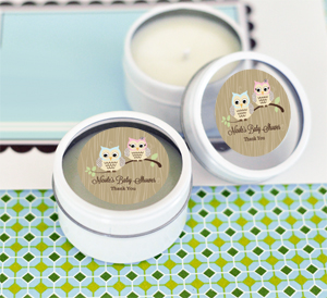 Woodland Owl Personalized Round Candle Tins