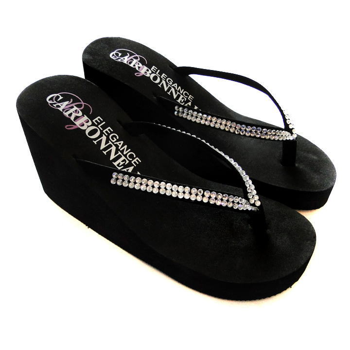 af34cc82a864 High Wedge Bridal Flip Flops with Crystal Accented Suedene Strap