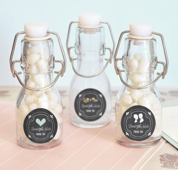 Chalkboard Wedding Personalized Mini Glass Bottles