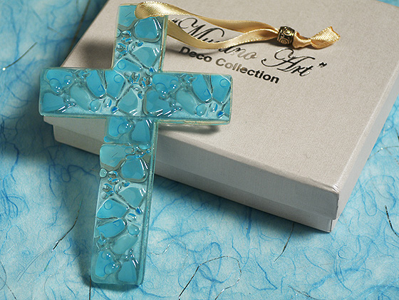 Murano Art Deco Glass Cross-Blue Out of Stock Until 7-6-17