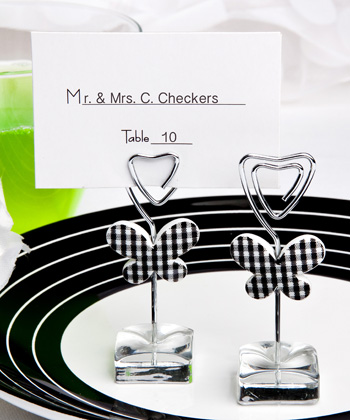 White and Black Butterfly Design Place Card/ Photo Holders