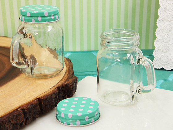 Classic Mason Jar Favor Mint Green or Pink Dot Lid 5 Oz