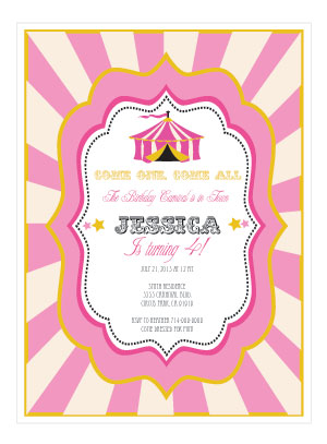 Pink Circus Party Invitations