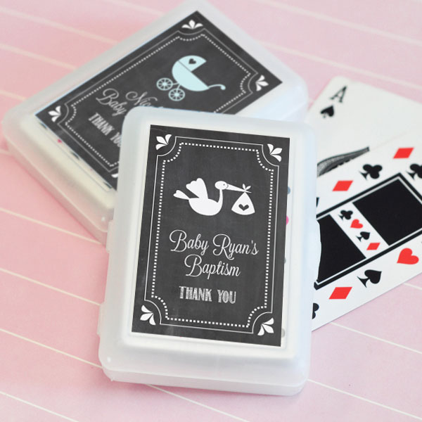 Chalkboard Baby Shower Personalized Playing Cards