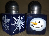 Blue Snowman Head Salt & Pepper Shakers