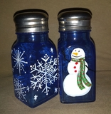 Blue Snowman Salt & Pepper Shakers
