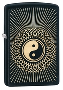 Zippo Ying Yang Lighter - Black and Gold Insert