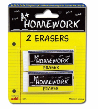 2pk White Erasers 12/box