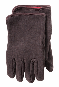 Brown Jersey, Red Fleece Lined Gloves 12 Pairs
