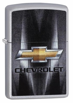 Zippo Chevrolet Lighter - Bowtie Logo Chrome with Charcoal Insert