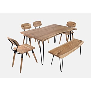 """Nature's Edge 60"""" Dining Table with 4 Chairs and Bench"""