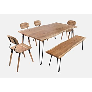 "Nature's Edge 79"" Dining Table with 4 Chairs and Bench"