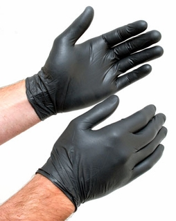 XXL Large Black Nitrile Gloves, Box of 100