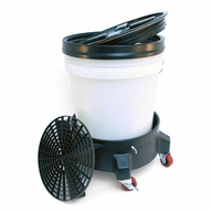 5 Gallon Wash Bucket System with Dolly - CLEAR