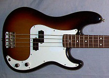 Aging nitrocellulose lacquer on a Fender Precision Bass