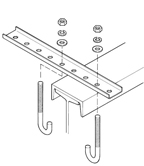 B-100-BR4A    Galv Straight Bracket W/ Mounting Clips - 12 Holes, 18 Inches