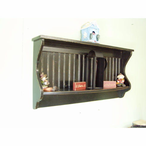 """Primitive Shelf and Plate Rack 42"""" Antiqued Distressed Black Country"""