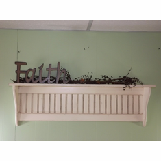Antiqued Distressed White Wall Shelf