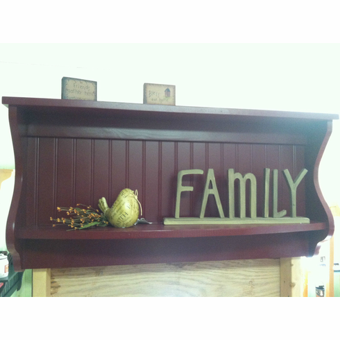 Wood Shelf and Plate Rack Primitive Country Display Shelf Hanging Wall