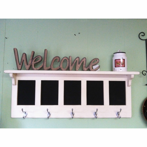 Message Center Coat Rack With 5 Chalkboards and hanging Hooks Wall She