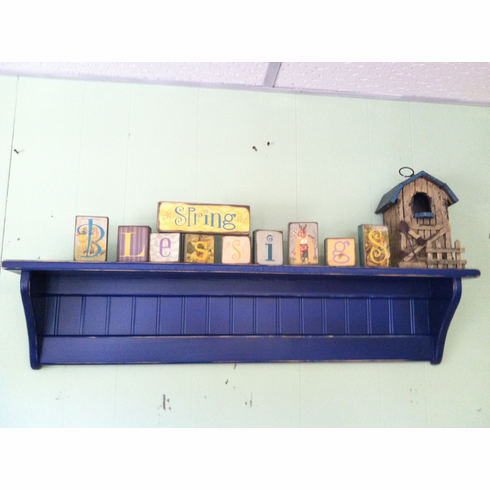 Primitive Wall Shelf, Distressed Navy Wall Display