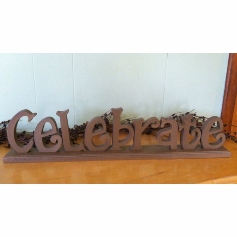Celebrate Word Primitive Wood Sign home decor Shelf Sitter Country Rus