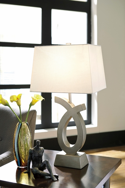 Signature Design Amayeta 2 Silver Poly Table Lamps by Ashley