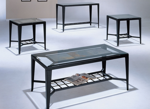 Clover 3-Pc Clear Glass/Black Metal Table Set by Asia Direct