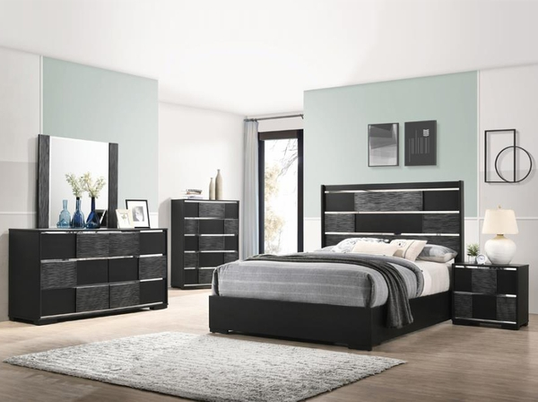 Blacktoft Contemporary Black Wood 2-Drawer Nightstand by Coaster