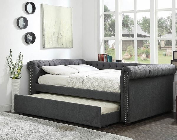 Leanna Gray Fabric Queen Daybed (Oversized) by Furniture of America
