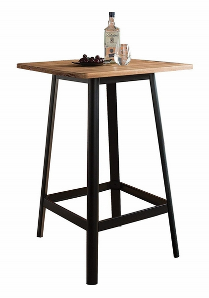 Jacotte Natural Wood/Black Steel Bar Table by Acme