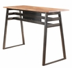 Scarus Natural Finish Wood/Gunmetal Steel Bar Table by Acme