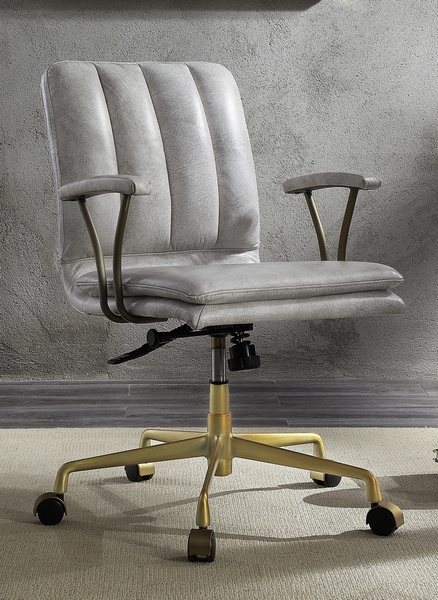 Damir Vintage White Top Grain Leather/Metal Office Chair by Acme