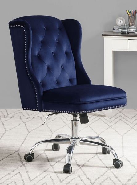 Jamesia Blue Velvet Adjustable Office Chair with Nailheads by Acme