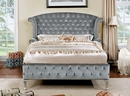 Alzir Gray Fabric King Bed (Oversized) by Furniture of America