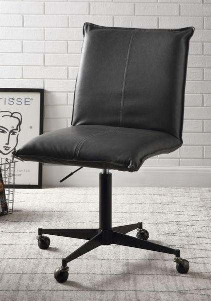 Airmont Onyx PU Leather/Black Metal Office Chair by Acme