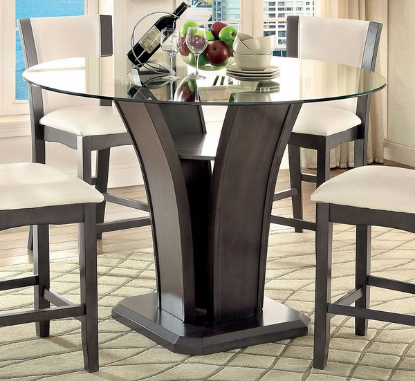 Manhattan Gray Wood/Glass Counter Height Table by Furniture of America