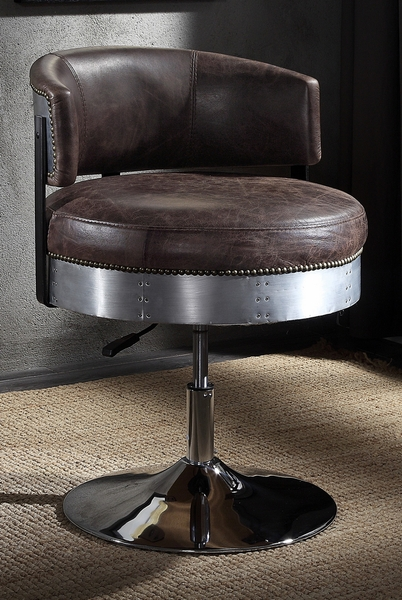 Brancaster Distress Chocolate Top Grain Leather Office Chair by Acme