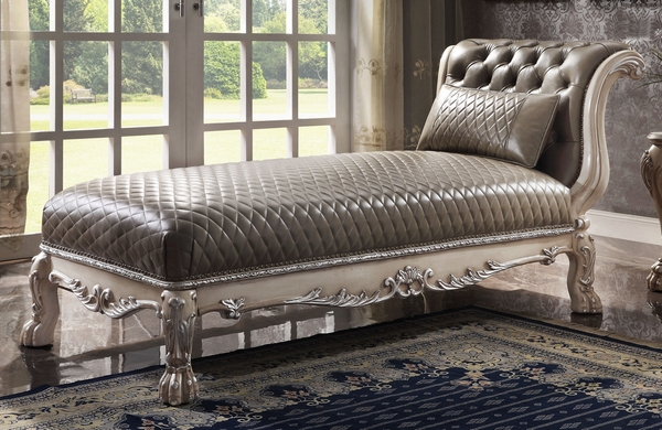 Dresden Vintage Bone White PU Leather Tufted Chaise by Acme