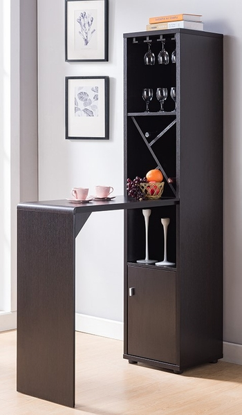 Andrea Red Cocoa Wood Bar Table with Wine Rack by ID USA