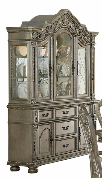 Catalonia Platinum Gold Wood Buffet with Hutch by Homelegance