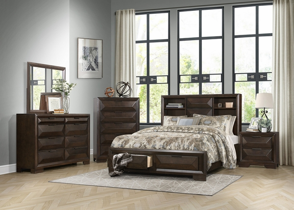 Chesky Warm Espresso Wood King Bed with Storages by Homelegance