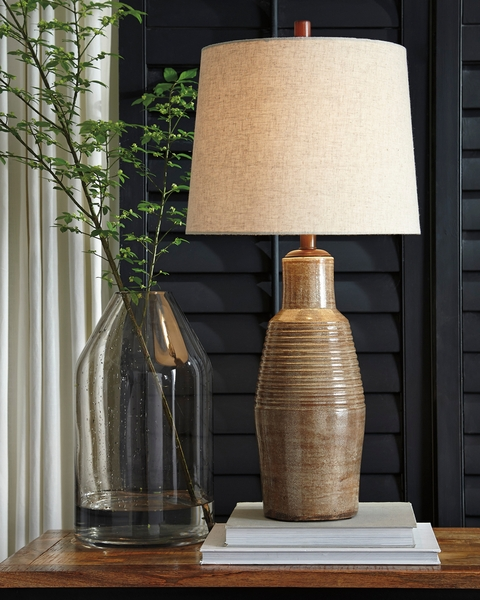 Signature Design Calixto Taupe Terracotta Table Lamp by Ashley