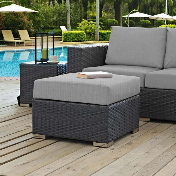 Sojourn Rattan Patio Ottoman with Canvas Gray Fabric Cushion by Modway