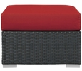 Sojourn Rattan Patio Ottoman with Canvas Red Fabric Cushion by Modway