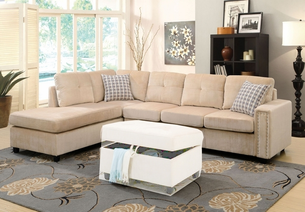Belville Beige Velvet Reversible Sectional Sofa with Pillows by Acme