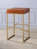 Boice Light Brown PU Leather/Gold Metal Bar Stool by Acme