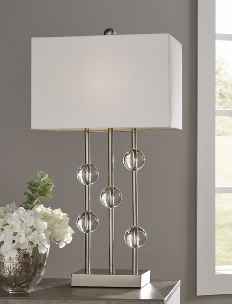 Signature Design Jaala Clear/Silver Metal Table Lamp by Ashley