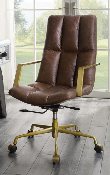 Rolento Espresso Top Grain Leather Executive Office Chair by Acme